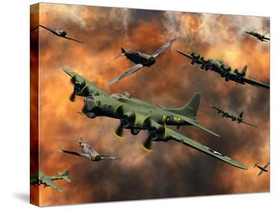 American and German Aircraft Battle it Out in the Skies During WWII-Stocktrek Images-Stretched Canvas Print