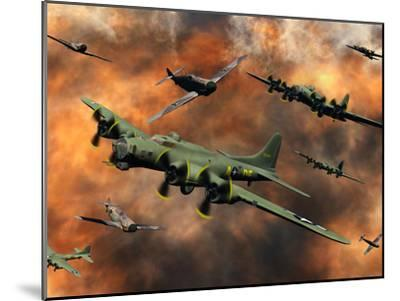 American and German Aircraft Battle it Out in the Skies During WWII-Stocktrek Images-Mounted Photographic Print