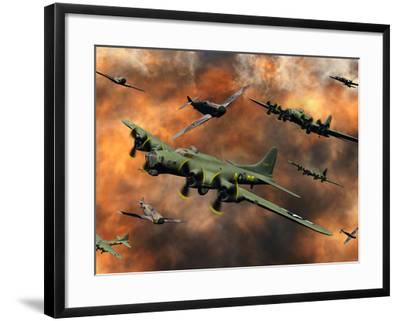 American and German Aircraft Battle it Out in the Skies During WWII-Stocktrek Images-Framed Photographic Print