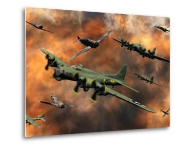 American and German Aircraft Battle it Out in the Skies During WWII-Stocktrek Images-Metal Print