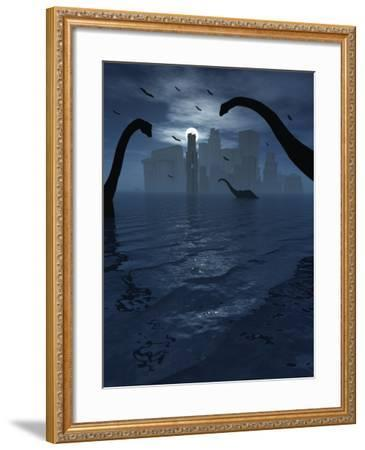Dinosaurs Feed Near the Shores of the Famed Lost City of Atlantis-Stocktrek Images-Framed Photographic Print