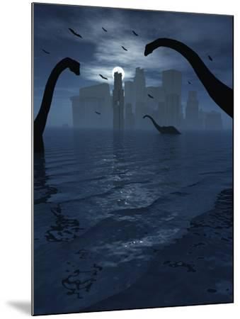 Dinosaurs Feed Near the Shores of the Famed Lost City of Atlantis-Stocktrek Images-Mounted Photographic Print
