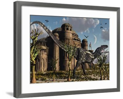 Artist's Concept of a Reptoid Race Whom Co-Existed Alongside the Dinosaurs-Stocktrek Images-Framed Photographic Print