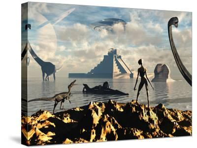 An Alien World Where Reptoid Beings Co-Exist with Dinosaurs-Stocktrek Images-Stretched Canvas Print