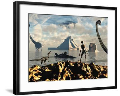 An Alien World Where Reptoid Beings Co-Exist with Dinosaurs-Stocktrek Images-Framed Photographic Print