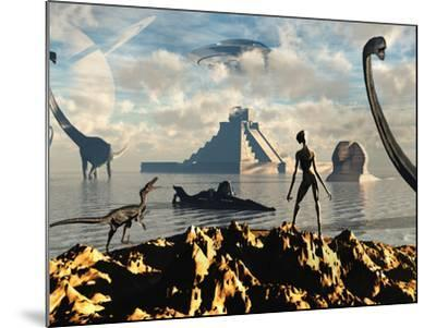 An Alien World Where Reptoid Beings Co-Exist with Dinosaurs-Stocktrek Images-Mounted Photographic Print