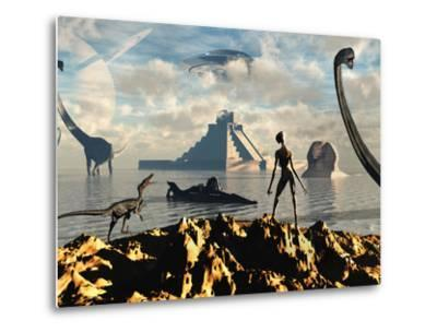 An Alien World Where Reptoid Beings Co-Exist with Dinosaurs-Stocktrek Images-Metal Print