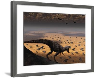 A Lone T. Rex Looks Down on a Large Herd of Triceratops-Stocktrek Images-Framed Photographic Print