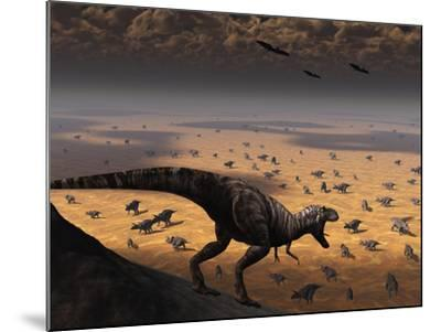 A Lone T. Rex Looks Down on a Large Herd of Triceratops-Stocktrek Images-Mounted Photographic Print