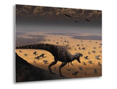 A Lone T. Rex Looks Down on a Large Herd of Triceratops-Stocktrek Images-Metal Print