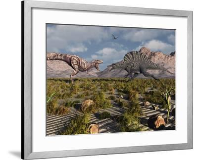 A Confrontation Between a T. Rex and a Spinosaurus Dinosaur-Stocktrek Images-Framed Photographic Print