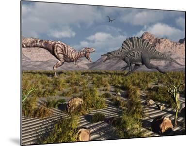 A Confrontation Between a T. Rex and a Spinosaurus Dinosaur-Stocktrek Images-Mounted Photographic Print