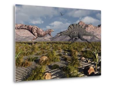 A Confrontation Between a T. Rex and a Spinosaurus Dinosaur-Stocktrek Images-Metal Print