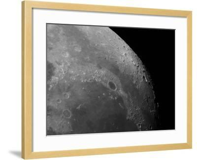 Close-Up View of the Moon Showing Impact Crater Plato-Stocktrek Images-Framed Photographic Print