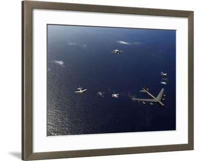 A U.S. Air Force B-52 Stratofortress Aircraft Leads a Formation of Aircraft-Stocktrek Images-Framed Photographic Print