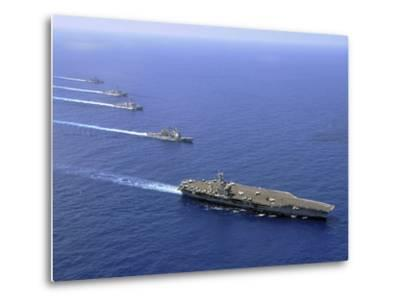 Military Ships Operate in Formation in the South China Sea-Stocktrek Images-Metal Print
