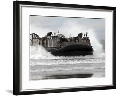 U.S. Navy Landing Craft Air Cushion Makes a Beach Landing-Stocktrek Images-Framed Photographic Print