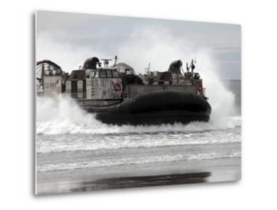 U.S. Navy Landing Craft Air Cushion Makes a Beach Landing-Stocktrek Images-Metal Print