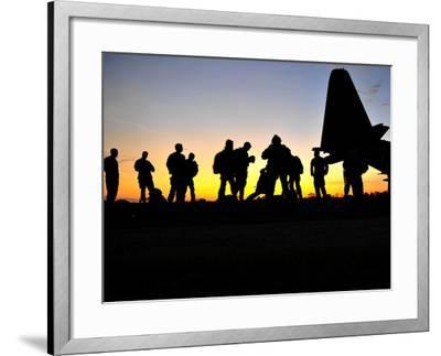 Green Berets Prepare to Board a KC-130 Aircraft-Stocktrek Images-Framed Photographic Print
