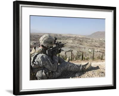 U.S Army Soldier Scans His Sector of Fire with His M14 Rifle in Afghanistan-Stocktrek Images-Framed Photographic Print