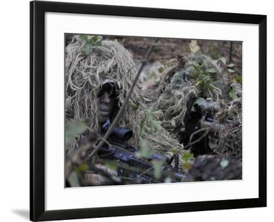A Sniper Team Spotter and Shooter-Stocktrek Images-Framed Photographic Print