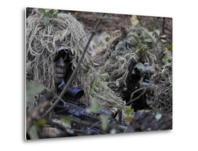 A Sniper Team Spotter and Shooter-Stocktrek Images-Metal Print