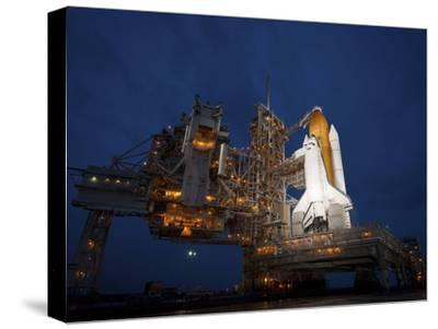 Night View of Space Shuttle Atlantis on the Launch Pad at Kennedy Space Center, Florida-Stocktrek Images-Stretched Canvas Print