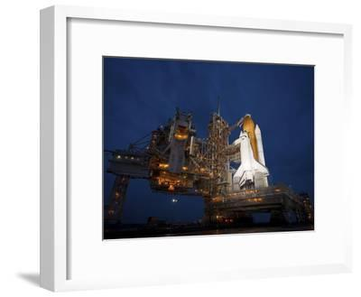 Night View of Space Shuttle Atlantis on the Launch Pad at Kennedy Space Center, Florida-Stocktrek Images-Framed Photographic Print