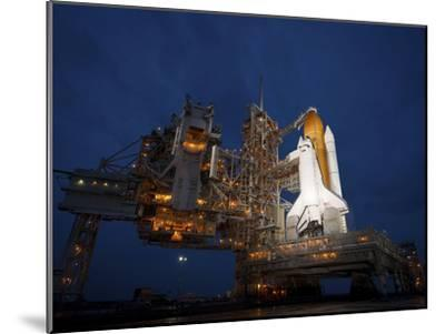Night View of Space Shuttle Atlantis on the Launch Pad at Kennedy Space Center, Florida-Stocktrek Images-Mounted Photographic Print