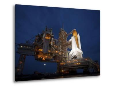 Night View of Space Shuttle Atlantis on the Launch Pad at Kennedy Space Center, Florida-Stocktrek Images-Metal Print