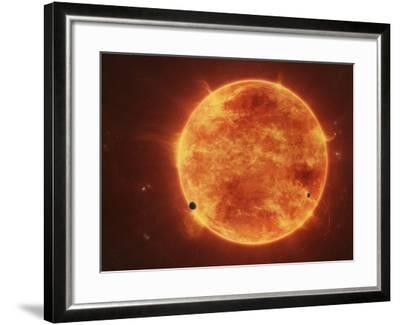 A Massive Red Dwarf Consuming Planets Within it's Range-Stocktrek Images-Framed Photographic Print
