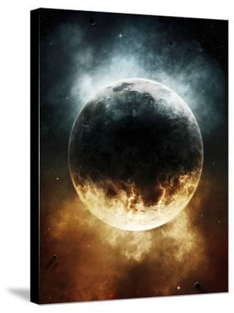 A Rare Planet Surrounded by a Cloud of Plasmatic Nitrogen and Flames-Stocktrek Images-Stretched Canvas Print