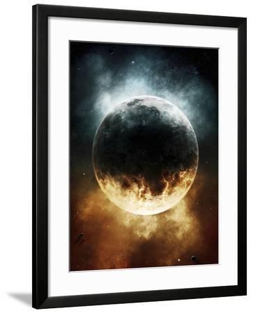 A Rare Planet Surrounded by a Cloud of Plasmatic Nitrogen and Flames-Stocktrek Images-Framed Photographic Print