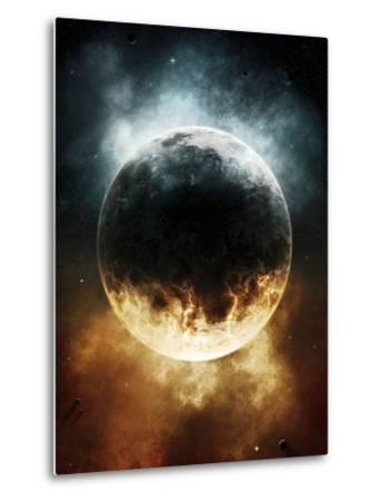 A Rare Planet Surrounded by a Cloud of Plasmatic Nitrogen and Flames-Stocktrek Images-Metal Print