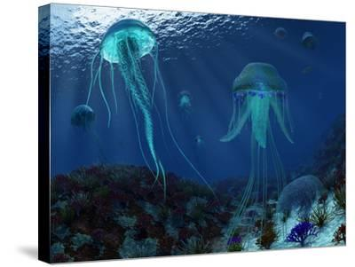 A Swarm of Jellyfish Swim the Panthalassic Ocean-Stocktrek Images-Stretched Canvas Print