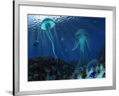 A Swarm of Jellyfish Swim the Panthalassic Ocean-Stocktrek Images-Framed Photographic Print