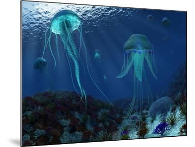 A Swarm of Jellyfish Swim the Panthalassic Ocean-Stocktrek Images-Mounted Photographic Print