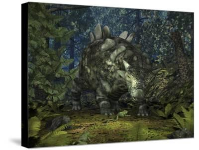 A Crichtonsaurus Crosses Paths with a Pair of Frogs Within a Cretaceous Forest-Stocktrek Images-Stretched Canvas Print