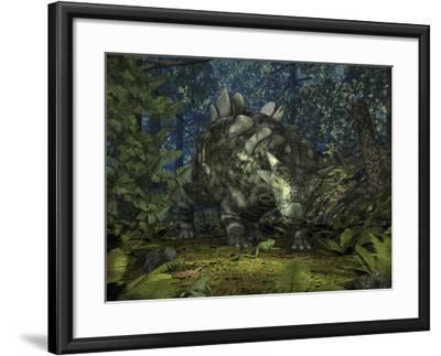 A Crichtonsaurus Crosses Paths with a Pair of Frogs Within a Cretaceous Forest-Stocktrek Images-Framed Photographic Print