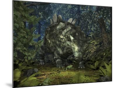 A Crichtonsaurus Crosses Paths with a Pair of Frogs Within a Cretaceous Forest-Stocktrek Images-Mounted Photographic Print