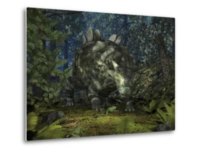 A Crichtonsaurus Crosses Paths with a Pair of Frogs Within a Cretaceous Forest-Stocktrek Images-Metal Print