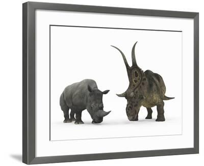 An Adult Diabloceratops Compared to a Modern Adult White Rhinoceros-Stocktrek Images-Framed Photographic Print