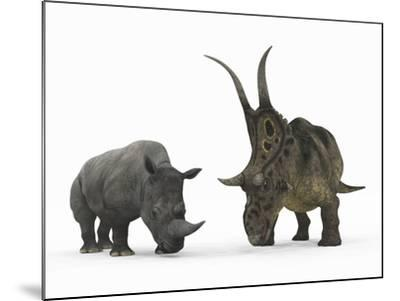 An Adult Diabloceratops Compared to a Modern Adult White Rhinoceros-Stocktrek Images-Mounted Photographic Print