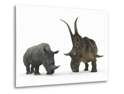 An Adult Diabloceratops Compared to a Modern Adult White Rhinoceros-Stocktrek Images-Metal Print