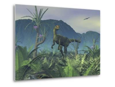 A Colorful Adult Male Dilophosaurus Explores a Hilltop-Stocktrek Images-Metal Print