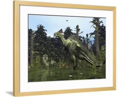 A Lambeosaurus Rears onto its Hind Legs in Response to a Threat-Stocktrek Images-Framed Photographic Print