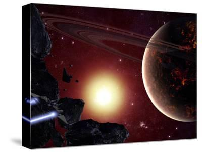 A Stealth Fighter En Route to Hades, a Ringed Planet-Stocktrek Images-Stretched Canvas Print