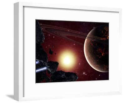 A Stealth Fighter En Route to Hades, a Ringed Planet-Stocktrek Images-Framed Photographic Print
