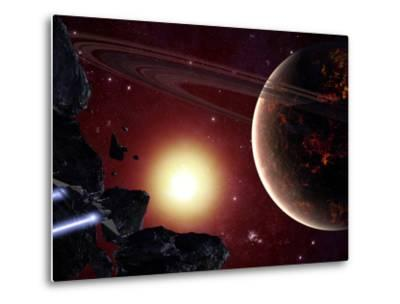 A Stealth Fighter En Route to Hades, a Ringed Planet-Stocktrek Images-Metal Print