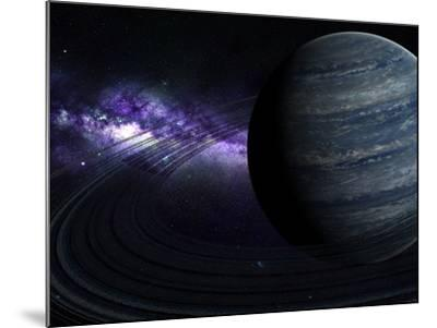 Artist's Concept of a Blue Ringed Gas Giant in Front of a Galaxy-Stocktrek Images-Mounted Photographic Print